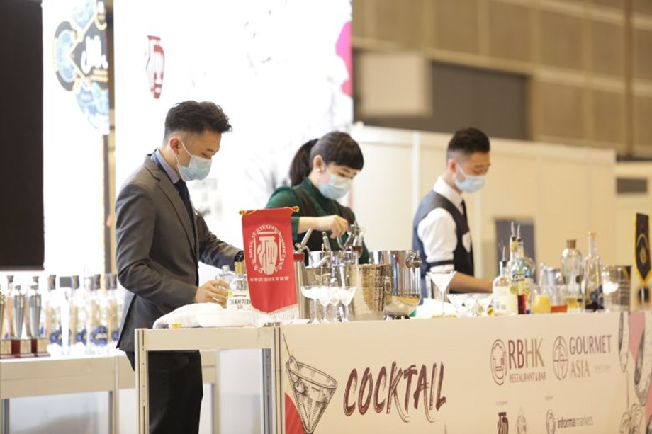 Masked up exhibitors at Restaurant & Bar Hong Kong and Asia Gourmet, Hong Kong's only F&B show in 2020.