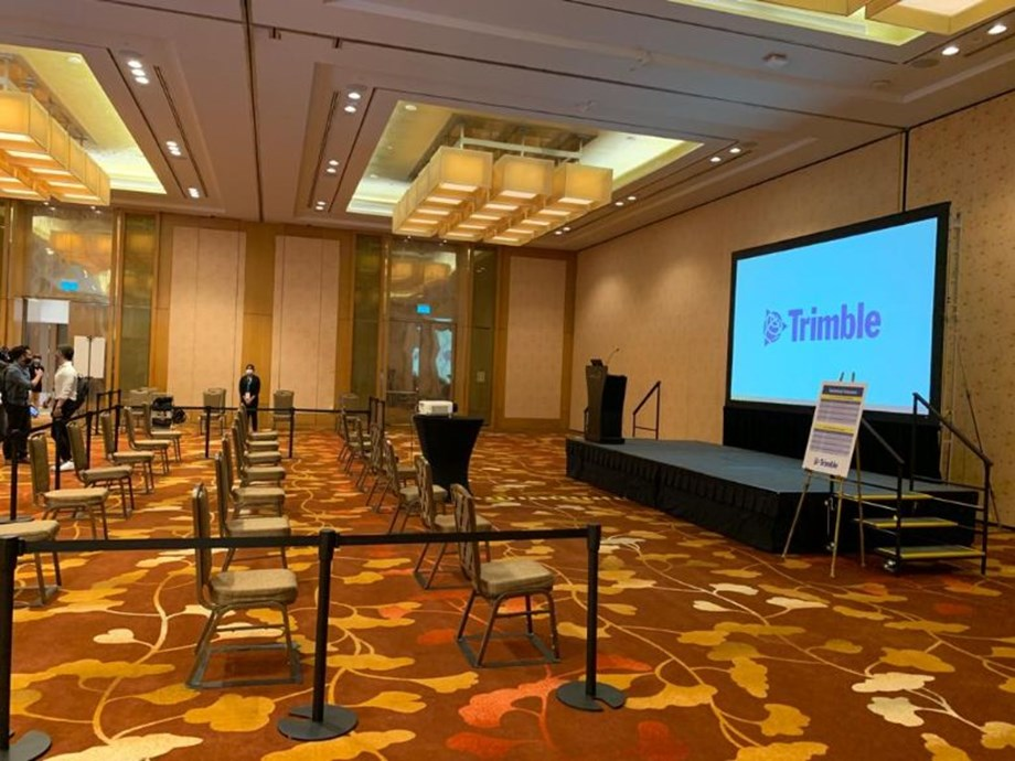 Trimble's suite also featured a dedicated area for technical talks, with spaced seating for up to 12 guests.