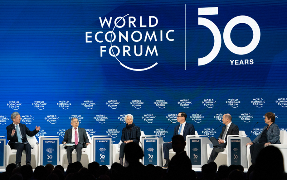 Safety first... Finance leaders discuss global economic outlook at the WEF Annual Meeting in Davos 2020. Next year's event will take place in Singapore in May, marking the first time the event will be held in Asia.