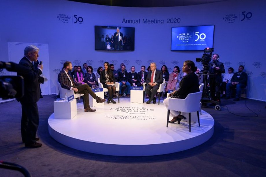 United Nations Secretary-General, António Guterres, and Global Shapers at WEF 2020.