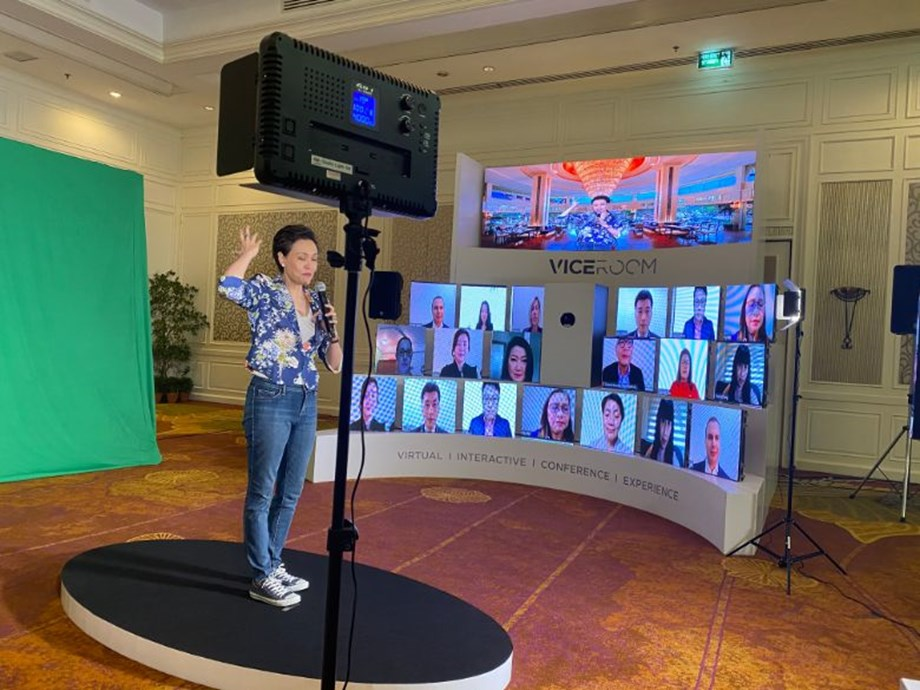 Dusit International CEO Suphajee Suthumpun kicked off new hybrid tech with a live demonstration as staff worldwide tuned in.