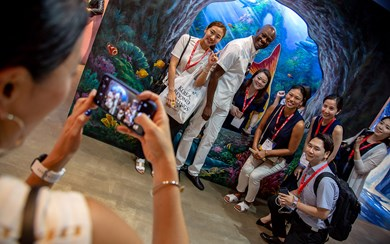 Buyers enjoying the ambience at Resorts World Sentosa's Maritime Experiential Museum/S.E.A. Aquarium Singapore.
