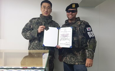 Receive a certificate commemorating your visit to the Korean military camp in the DMZ. (Photo Credit: DMZ Spy Tour)