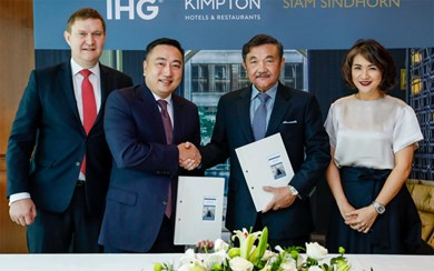 From left: Kenneth Macpherson, CEO, Europe, Middle East, Asia and Africa, IHG; Clarence Tan, managing director, Southeast Asia and Korea, IHG; Chalaluck Bunnag, managing director, Siam Sindhorn; Chonpreya Pacharaswate, director, hotel, Siam Sindhorn.