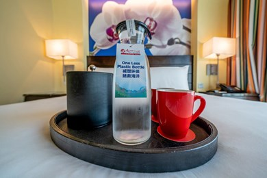 Refillable glass carafes at Resorts World Sentosa's hotel rooms.