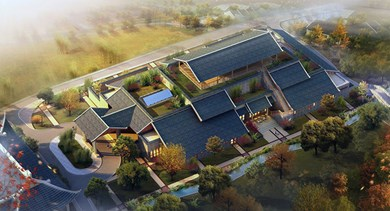 An aerial view of the expansive Qing You Hall at Six Senses Qing Cheng Mountain.